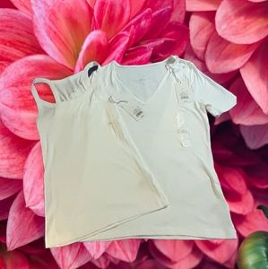 Small White V-neck T-shirt and Ribbed Tank NWT